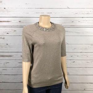 Jones New York jeweled collar beige sweater size S